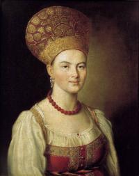 Портрет неизвестной крестьянки в русском костюме. X., м. 67X53,6. 1784. ГТГ