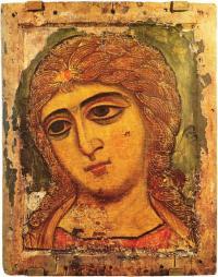 Голова архангела. Икона конца 12 в. Ленинград, Русский Музей.