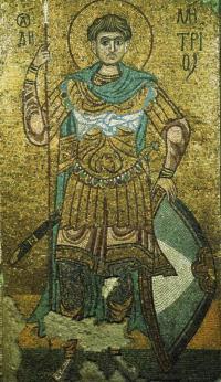 Как называется эта мозаика 11 века из Михайловского монастыря в Киеве?
