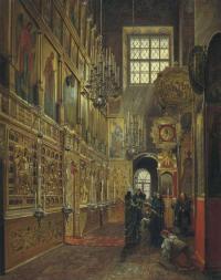 Шухвостов С. М., Обедня в московском Благовещенском соборе. 1857