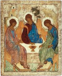 Где в Троице Рублева изображен ангел, символизирующий Христа?