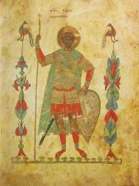 Миниатюра «Феодор Стратилат» из какого Евангелия 14 века?