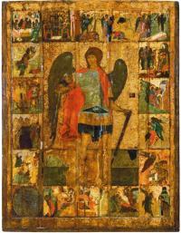 Какой школе принадлежит икона «Архангел Михаил с деяниями» 15 века?
