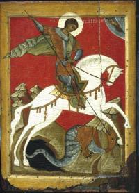 Икона «Чудо Георгия о змие». Конец 14 начало 15 веков. ГРМ