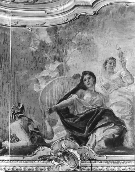 """Липгарт Э.К.  """"Парки"""",  холст на штукатурке, масло, размер картины 225 х527 см. Реставрация картины на своде гостиной"""