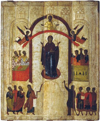 Покров Пресвятой Богородицы (икона из Зверина монастыря в Новгороде, 1399 год)